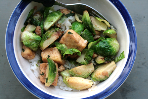 Caramelized Tofu with Pecans and Brussels Sprouts